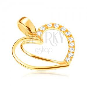 Arany medál 14K - szív kettőzött körvonallal és cirkóniákkal