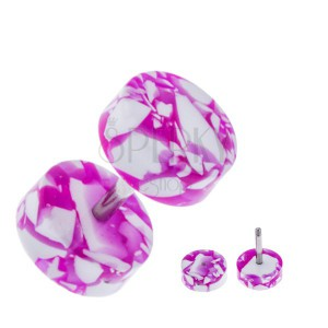 Akril fake plug a fülbe - korongok, lilás-fehér