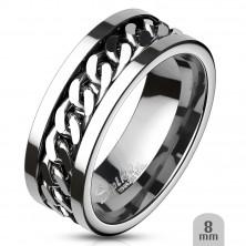 Acél karikagyűrű, középen lánccal díszített