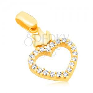 Arany 14K medál - szívkörvonal cirkóniákkal és koronával