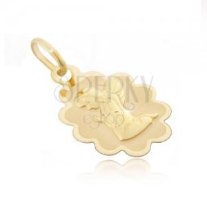 Arany 585 medál - tábla recés szegéllyel és térdelő angyallal