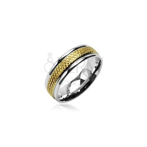 Sebészeti acél karikagyűrű - aranyozott rombusz sáv