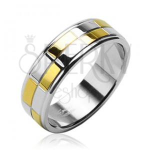 Acél jegygyűrű - fényes arany és ezüst téglalapok
