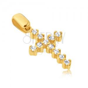 Medál 14K aranyból - csillogó kereszt kilógó részekkel