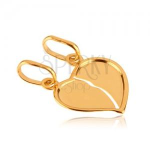 Arany kettős medál - megtört fényes szív behajlított széllel