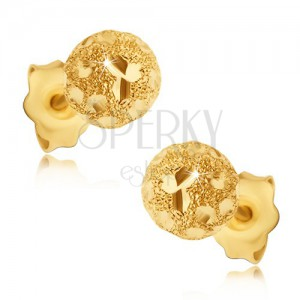 Fülbevaló aranyból 585 - szemcsés golyók fényes szemekkel