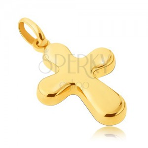 14 karátos arany medál - széles, fényes kereszt lekerekített végekkel