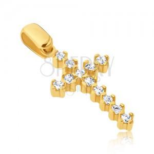 Arany medál - hosszított latin kereszt cirkóniákkal és karmokkal