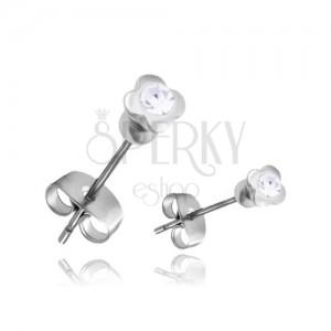 Acél fülbevaló - ezüst színű négy levéke átlátszó cirkóniával