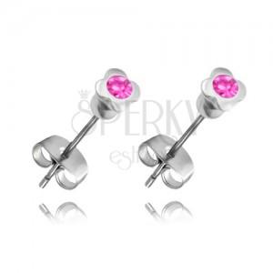 Acél fülbevaló - négy levélke rózsaszín cirkóniával