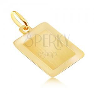 Medál 14K aranyból - sima téglalap tábla fényes kerettel