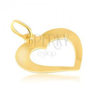 Medál aranyból - tükörfényű enyhén hajlított szív kivágással