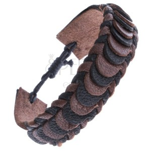 Bőr karkötő pikkelyes motívummal - kötött, barna-fekete