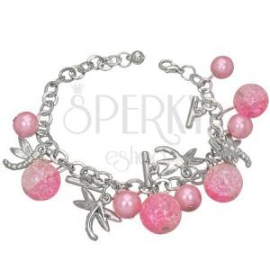 Karkötő fém ötvözetből - rózsaszínű, gyöngy, szitakötő, kristály golyó