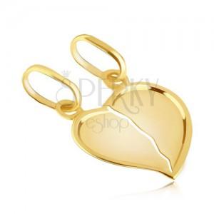 Páros medál 14K aranyból - eltörött fényes szív kiemelt széllel