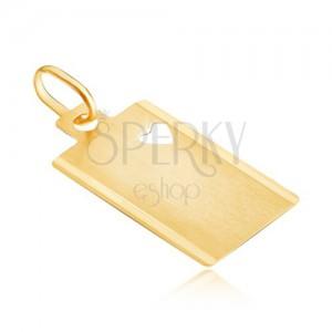 Medál 14K aranyból - matt téglalap szív kivágással