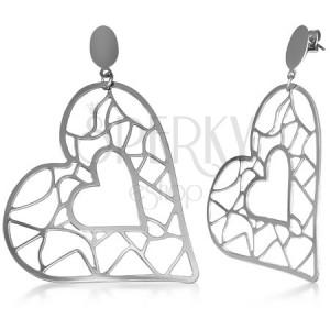Acél fülbevaló - kisebb és nagyobb szív