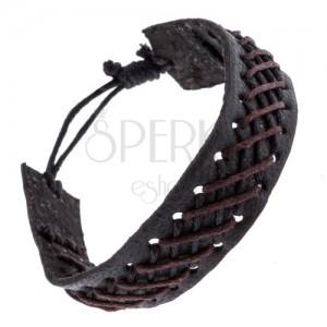 Fekete bőr karkötő fekete-barna fonott mintával