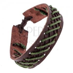 Bőr karkötő - sötétbarna, barna-zöld fonás