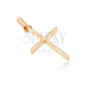 Medál 14K aranyból - vékony kereszt magasfényű szélső oldalakkal