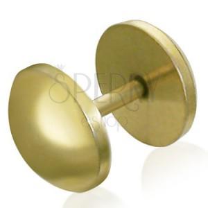 Kerek fake plug acélból - arany színű, anodizált felület