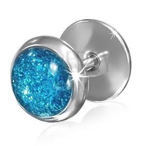 Hamis acél plug fülbe - kék csillogó szemecske