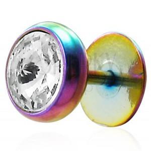 Szivárvány színű fake plug - acél, átlátszó cirkónia