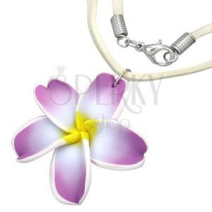 FIMO nyaklánc - lila-fehér pluméria virág, bézs bőr zsinór