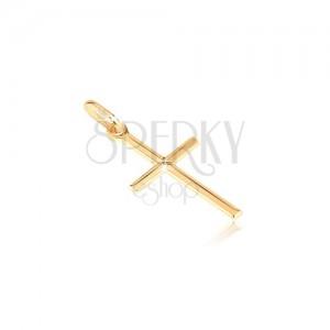 Medál 14K aranyból - apró fényes kereszt gravírozott X betűvel