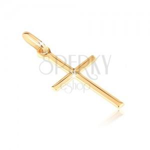 Medál 14K aranyból - sima latin kereszt X középpel