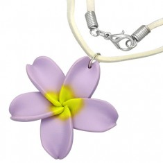 Nyaklánc FIMO virággal - lila virág, bézs madzag