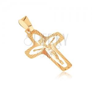 Arany medál - kereszt sugarakkal, szemes kivágásokkal és kidomborodó Jézussal