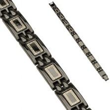 Sebészeti acél karkötő fekete színű kivitelben - fényes elemek díszítésekkel