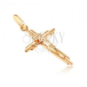 Arany medál - kereszt bevésett szárral és háromdimenziós Jézussal