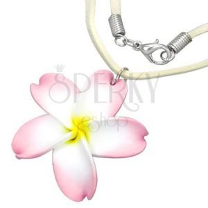 FIMO nyaklánc - fehér-rózsaszínű virág, bézs zsinór