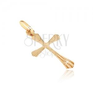 Medál 14K aranyból - kereszt sugaras szélesített szárakkal