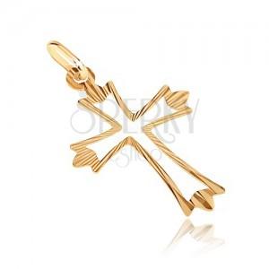 Arany medál - kereszt szétágazó sugaras sarkakkal és kivágással