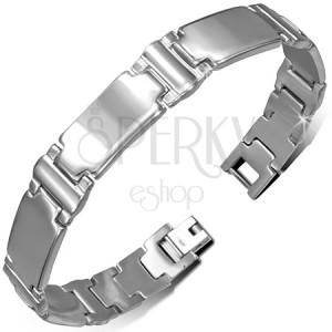 Acél karkötő - ezüst színű, hosszúkás sima elemek, I betű