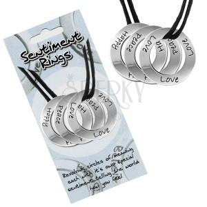 """Fekete színű zsinóros nyakék három karikával  """"Love, Peace, Happy"""""""