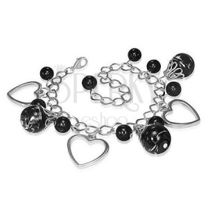 Fém karkötő - fekete gyöngyök, szív körvonal
