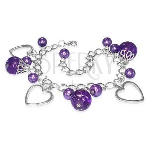 Karkötő - fém lánc, szív körvonalak, lila gyöngyök