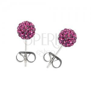 Sebészeti acél fülbevaló - golyó rózsaszínű cirkóniákkal