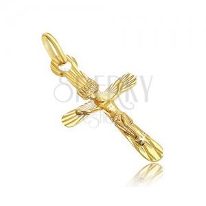 Medál 14K aranyból - ovális kereszt kitüremlő Krisztussal