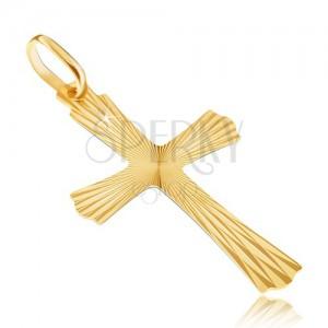 14K arany medál - sugaras kereszt hullámos végekkel