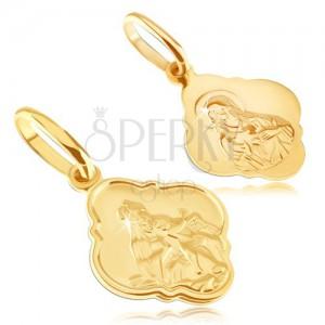 Medál aranyból - matt tábla Krisztussal és Madonnával