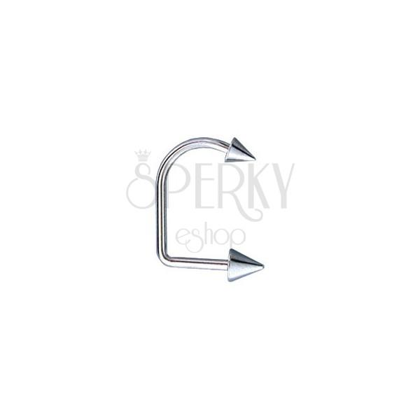 Ívelt ajak és áll piercing - két tüske, 4 és 5 mm