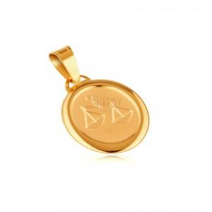 Medál 14K aranyból - matt tábla gravírozott MÉRLEG szimbólummal