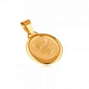 Arany ovális tábla - medál keretben BAK állatövi jeggyel