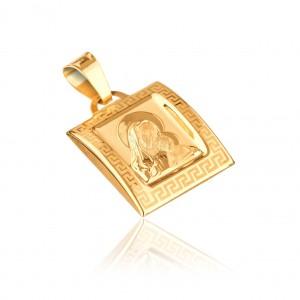 Medál 14K aranyból - Madonna kidomborodó táblában görög kulccsal