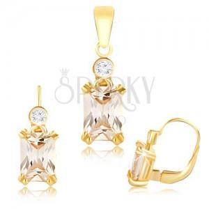 Arany szett - nagy csiszolt bézs színű cirkónia a fülbevalóban és a medálon